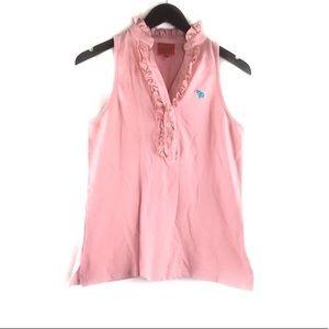 Tracy Negoshian Ruffle Polo Shirt Top